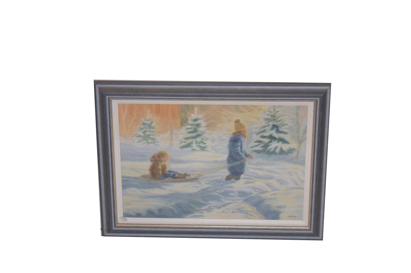 Lot 615 - An Oil Painting 'Children in Snow' - B McCallum
