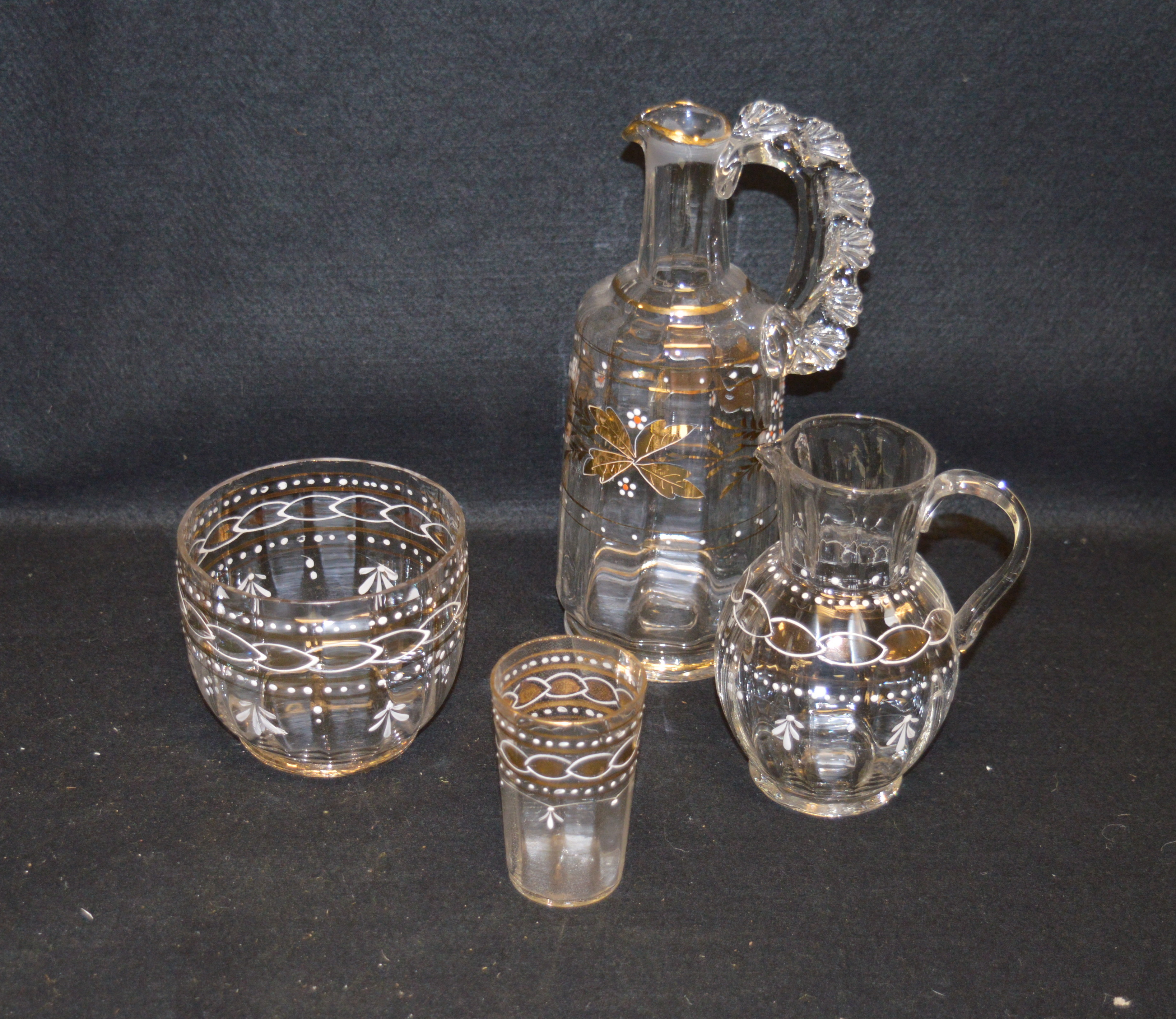 Lot 15 - A Collection of Four Pieces of Hand Painted Crystal Including a Lidded Decanter