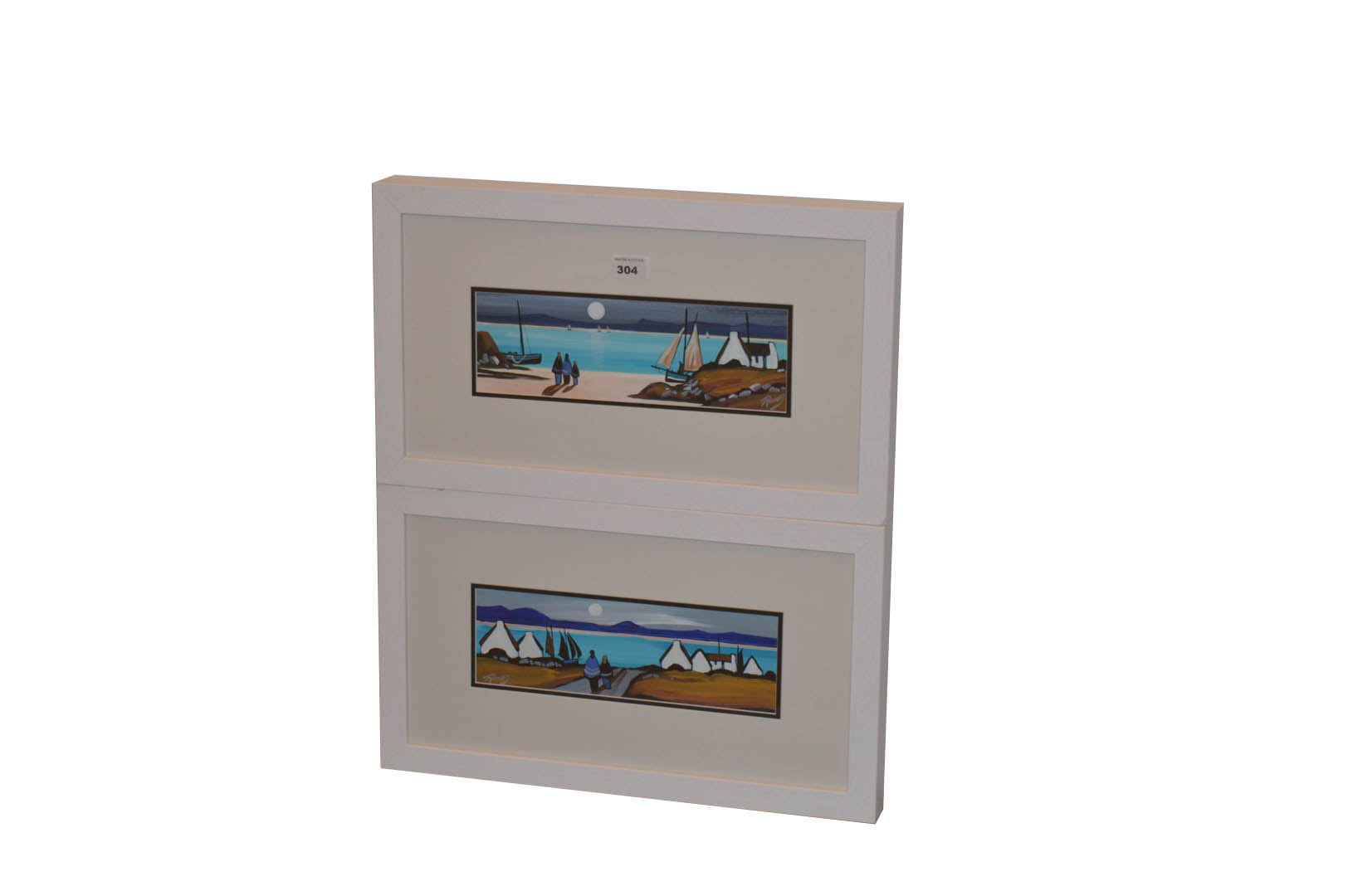 Lot 304 - A Pair of Framed Paintings 'On to the Sandy Cove' and 'Homes by the Bay' -
