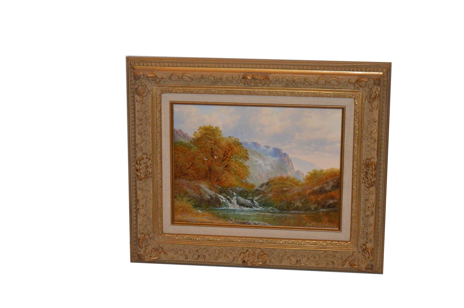 Lot 610 - An Oil Painting 'Waterfall' - HG Kurbis