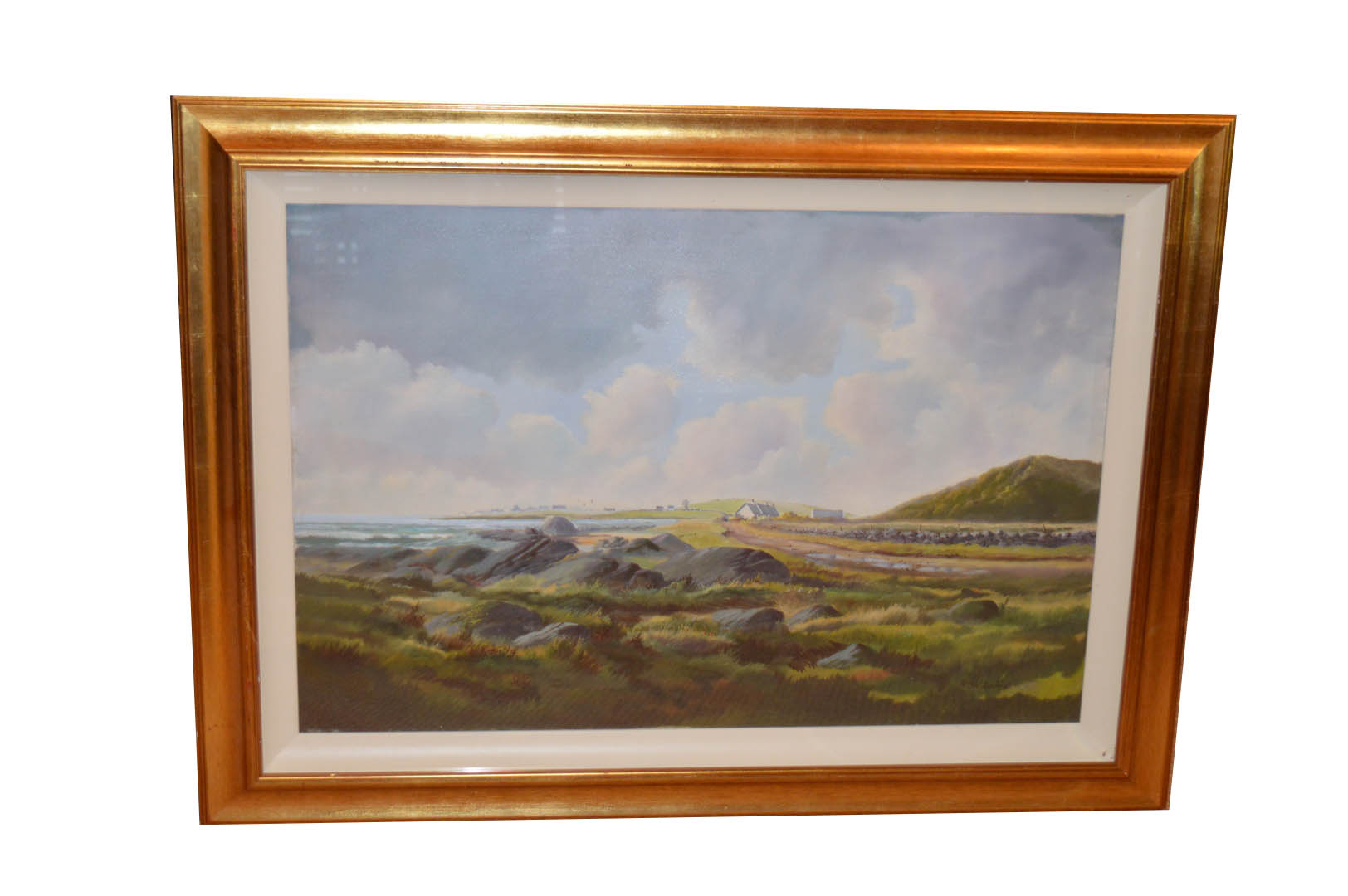 Lot 568 - An Oil Painting 'Land and Seascape' - R B Higgins