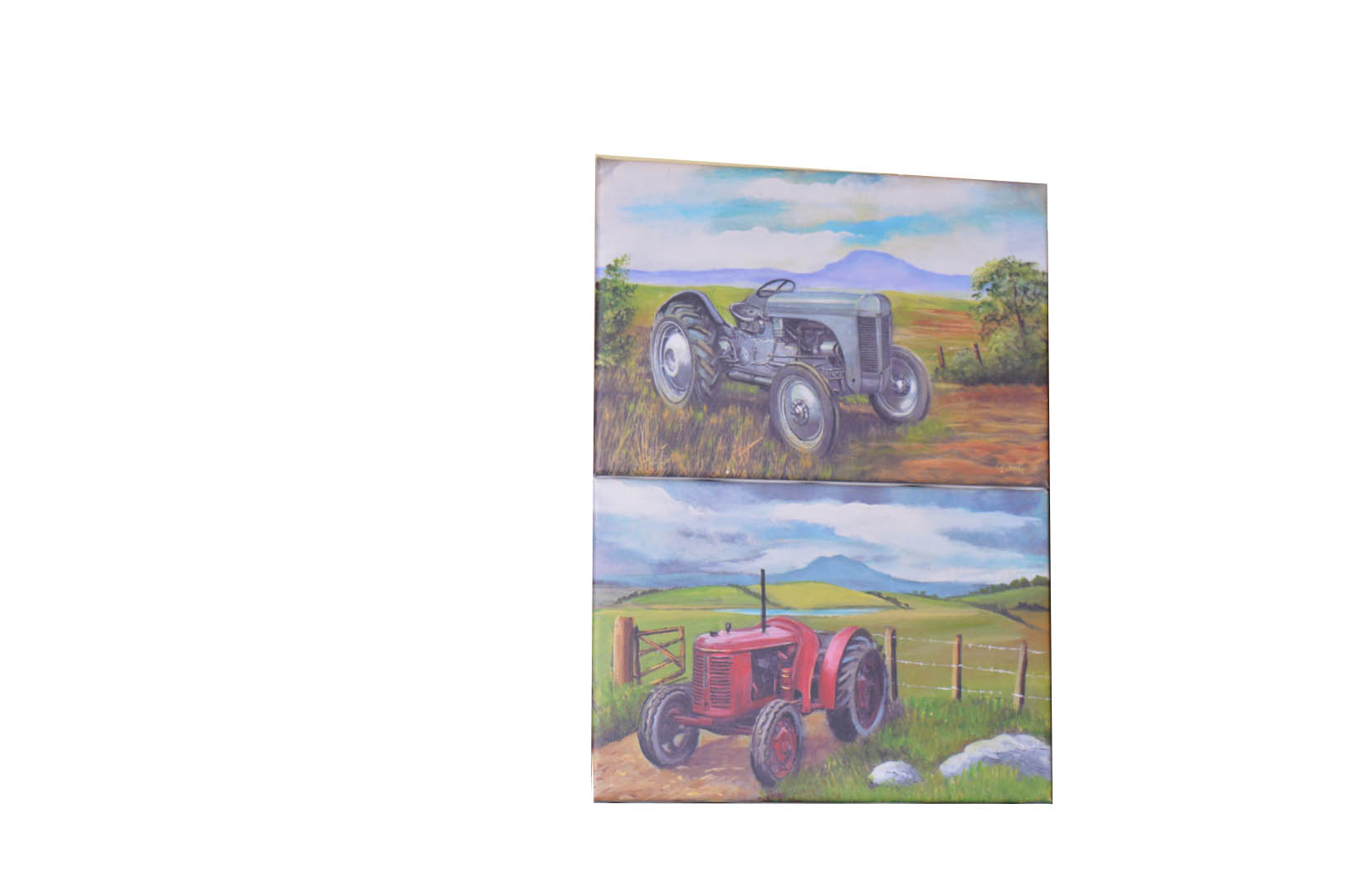 Lot 573 - A Pair of Unframed Pictures 'Old Tractors' - C. Geddis