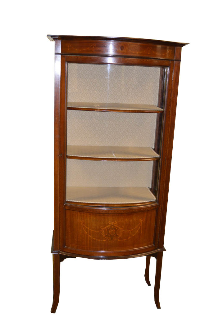 Lot 30 - A Nice Inlaid Mahogany Shaped Front Single Door Display Cabinet