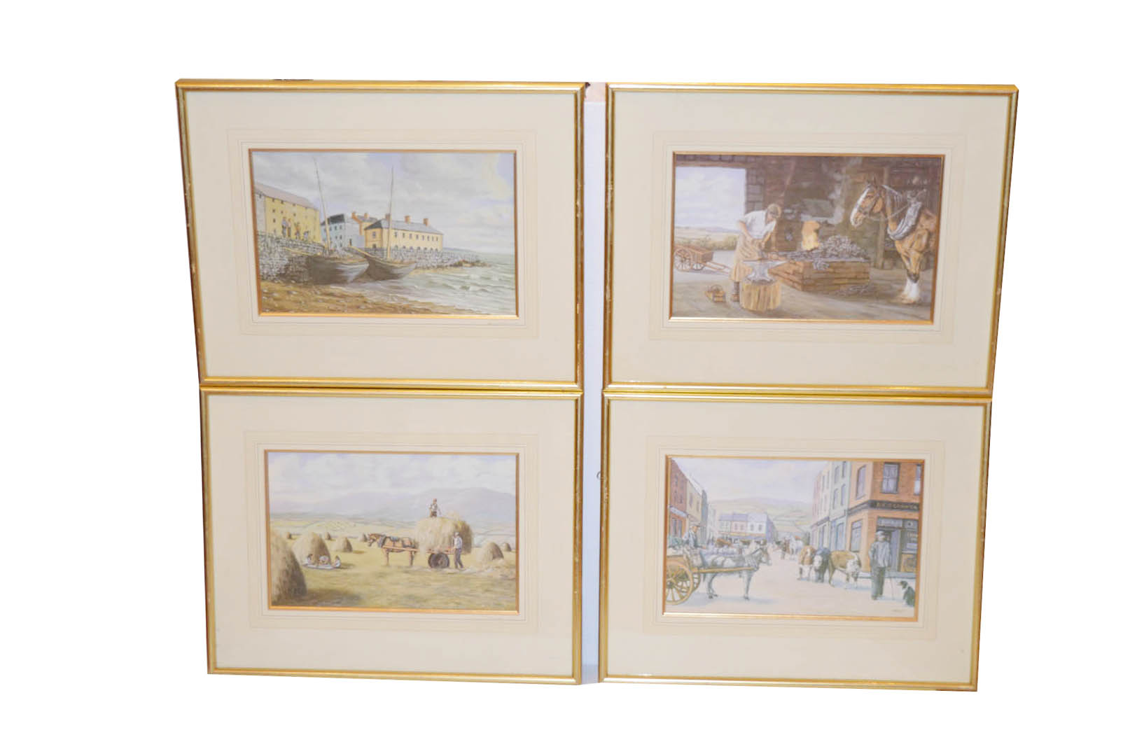 Lot 346 - A Gilt Framed Set of Four Pictures, 'Fair Day' 'Harvest Time' etc - Lynch