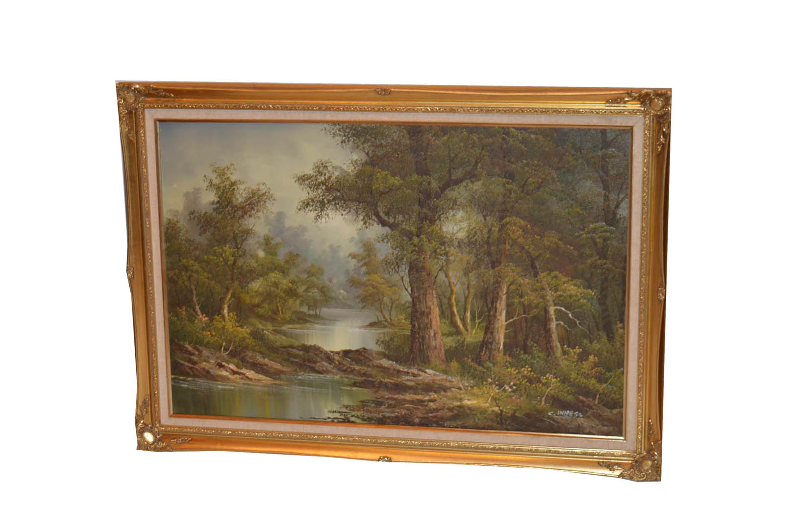 Lot 593 - A Large Oil Painting 'Woodland and River' - C Inness