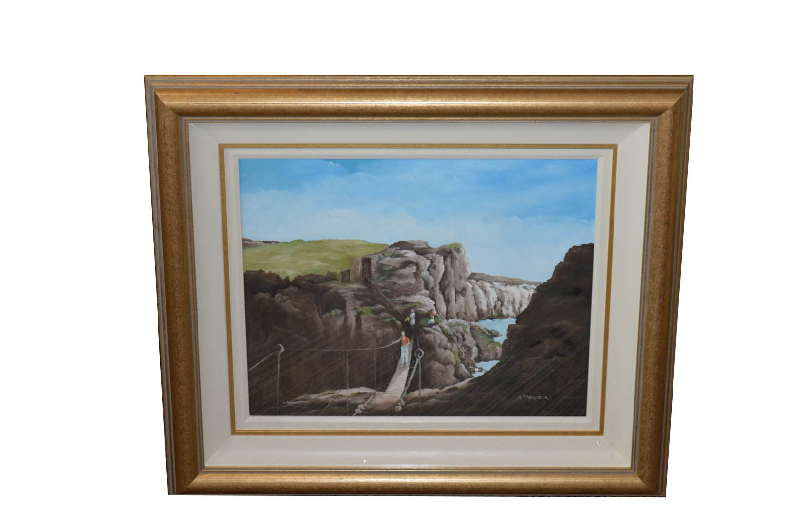Lot 663 - An Oil Painting 'The Rope Bridge' - S Thompson