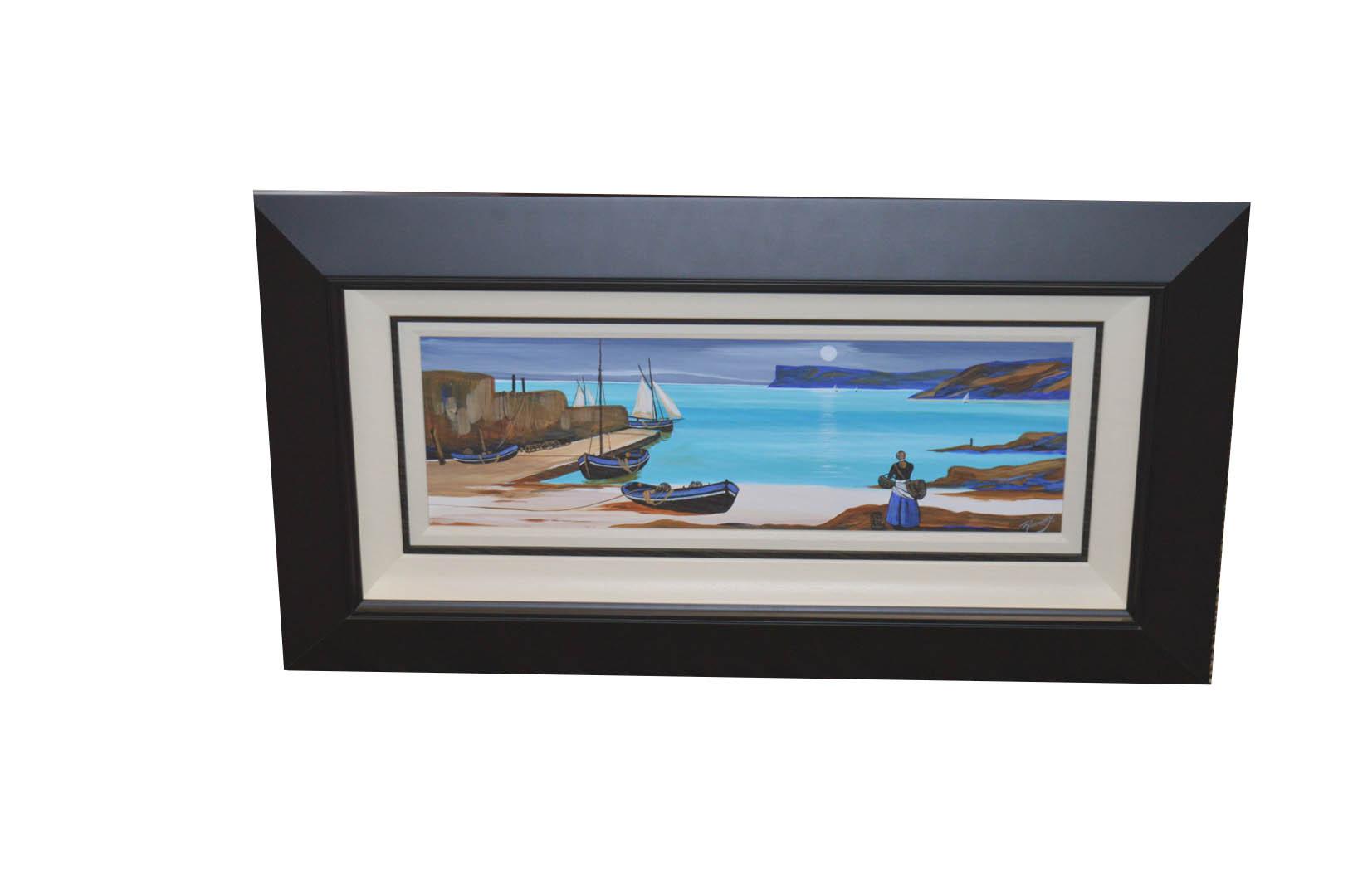 Lot 232 - A Framed Oil Painting 'Moonlit Boatslip, Ballycastle' - J. P Rooney