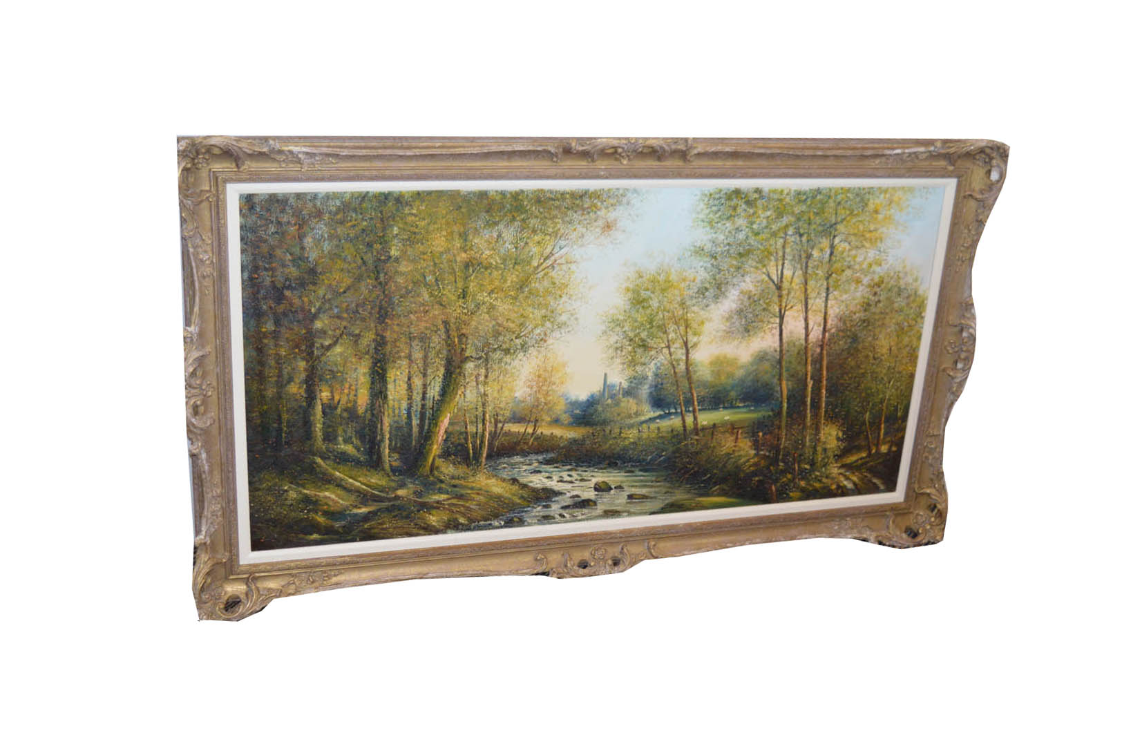 Lot 665 - A Large Oil Painting 'Woodland and River Scene' - W Cunnginham