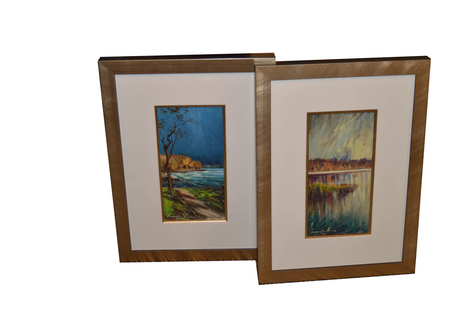 Lot 594 - A Pair of Oil Paintings 'Sea and Landscapes' - W Cunningham