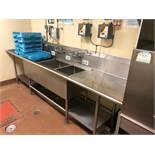 "DESCRIPTION: 10' X 31"" THREE WELL LEFT SIDE STAINLESS POT SINK W/ SPRAY SINK. ADDITIONAL INFORMATION"