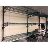 "DESCRIPTION: (4) SECTIONS OF TWO TIER WALL MOUNTED COATED WIRE SHELVES. SIZE: 48"" X 18"" LOCATION: KI"