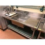 "DESCRIPTION: 60"" STAINLESS PREP SINK W/ SINGLE FAUCET. ADDITIONAL INFORMATION: HEAVY DUTY, W/ DRAIN"