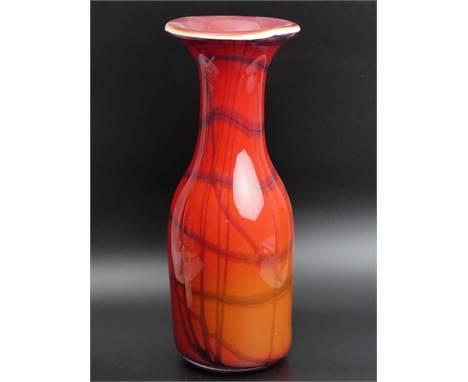 A large heavy Italian Murano cased art glass vase. 39 cm high. UK Postage £30.