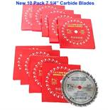 "(10) Unused 7 1/4"" Carbide Tipped Saw Blades"