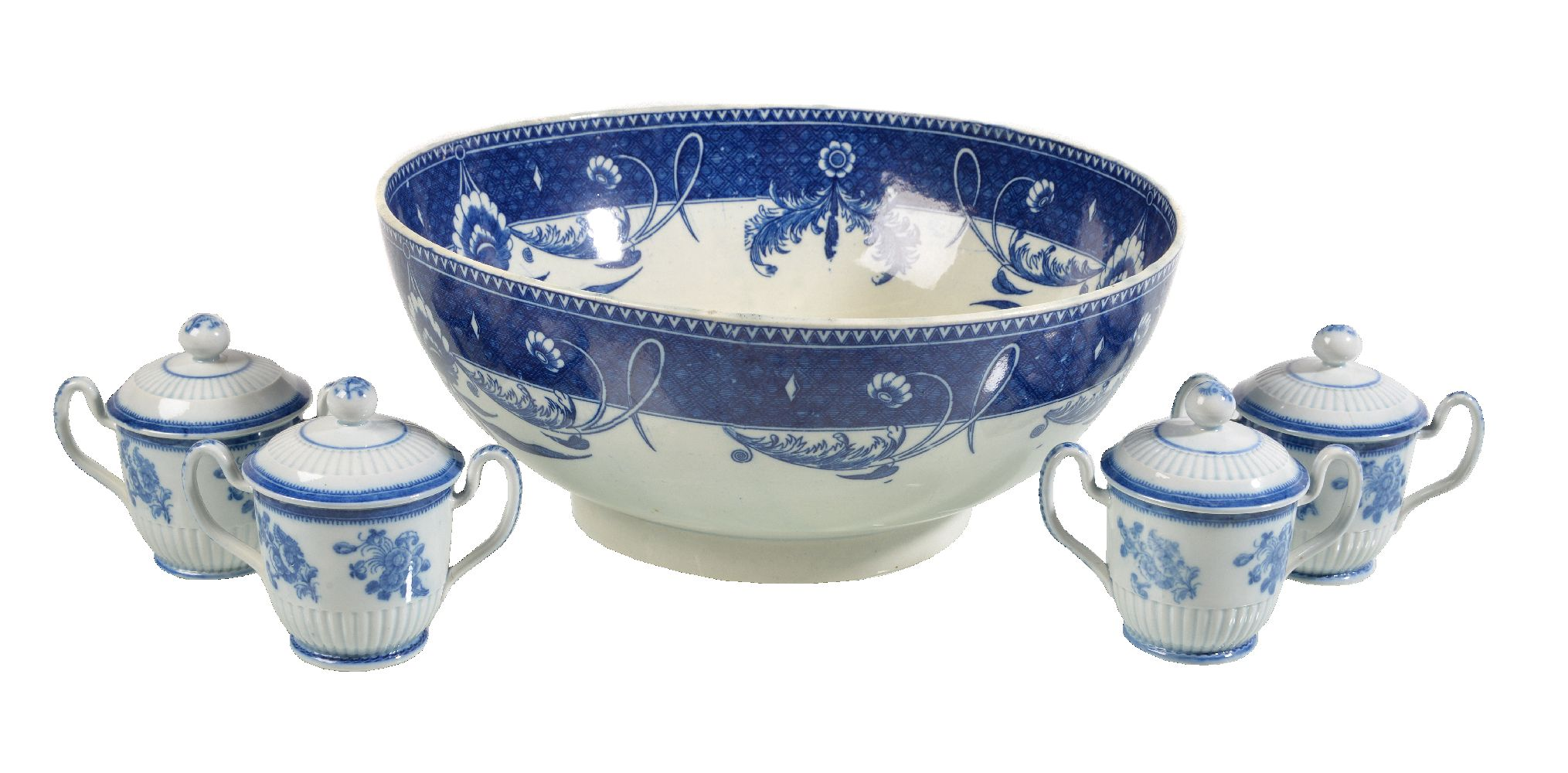 Lot 20 - A Staffordshire pearlware blue and white punch bowl, circa 1790, the well printed with a pagoda,
