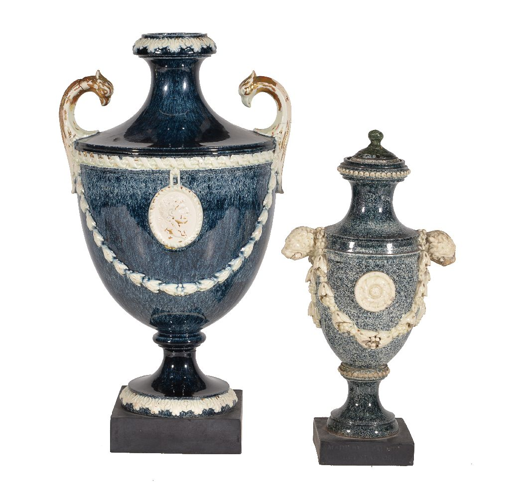 Lot 29 - Two various variegated porphyry creamware vases, various dates 1770-80, the larger Neale & Co., 26cm