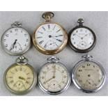 Sechs Taschenuhren 19./20. Jh. Diverse Hersteller. U.a. Omega, Kienzle, Waltham. Diverse
