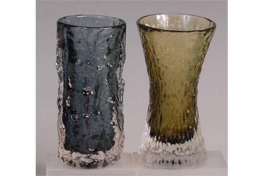 A Whitefriars Glass Bark Vase By Geoffrey Baxter Pewter Colour
