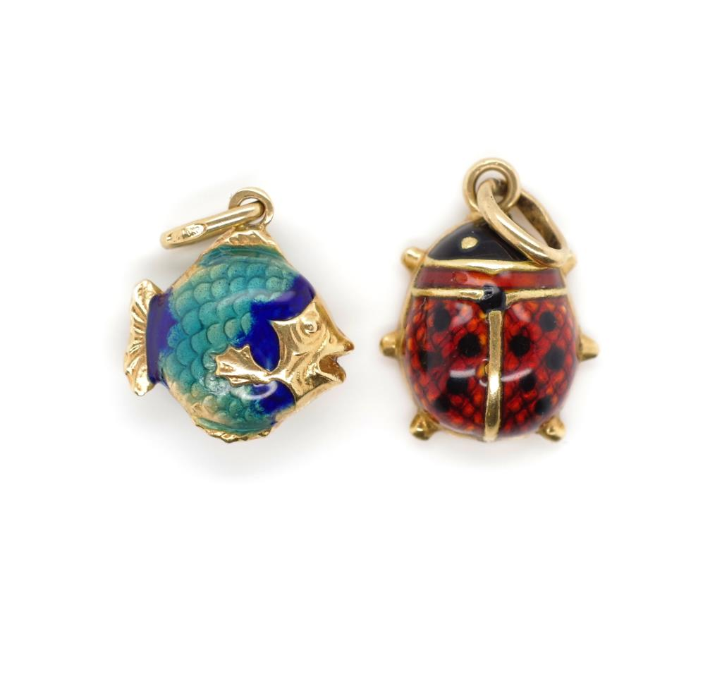 Lot 53 - Two 18ct gold and enamel charms