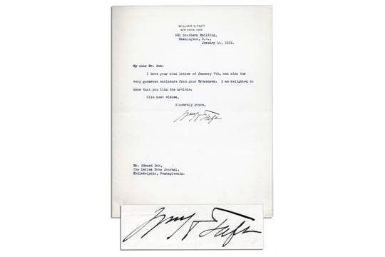 William Taft Typed Letter Signed to Editor Edward Bok – Reciept of Payment