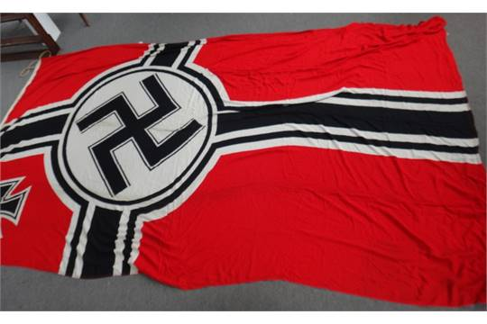 A German Kriegsmarine flag, WW2 period, marked 'Reichskriegsflg 300
