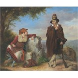 Lot 1151 - Continental School (19th century), A Macedonian couple resting by the wayside, oil on canvas,