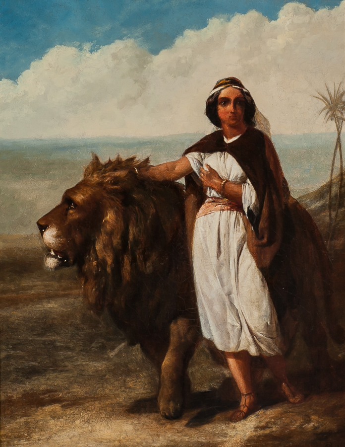 Lot 4 - ALEXANDER DAVIS COOPER (ENGLISH 1820 - 1895), ANDROCLES AND THE LION, oil on canvas,
