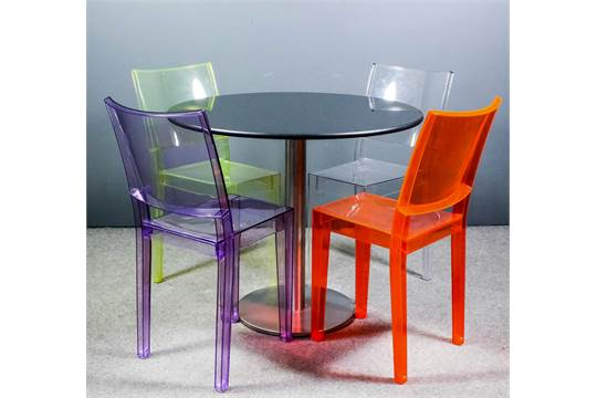 A set of four modern coloured polycarbonate \