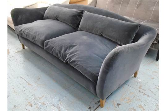 Moreau Sofa By Russell Pinch With A Hump Back And Grey Velvet