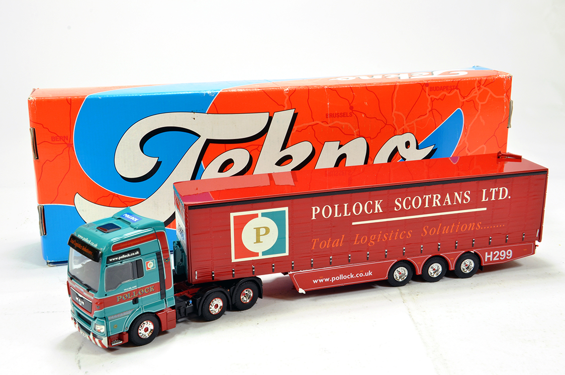 Lot 29 - Tekno 1/50 Diecast Truck Issue Comprising MAN Curtainside in livery of Pollock. E in Box.