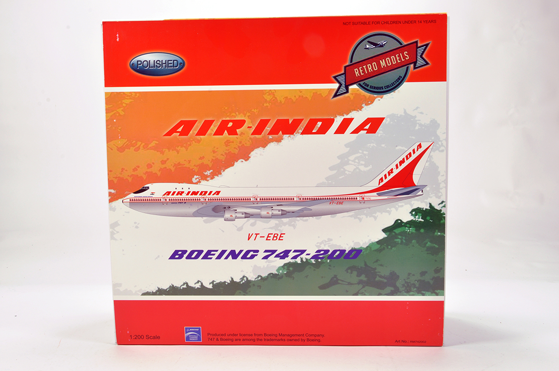 Lot 468 - Retro Models 1/200 Aircraft issue comprising Boeing 747-200 in Livery of Air India. E to NM in Box.