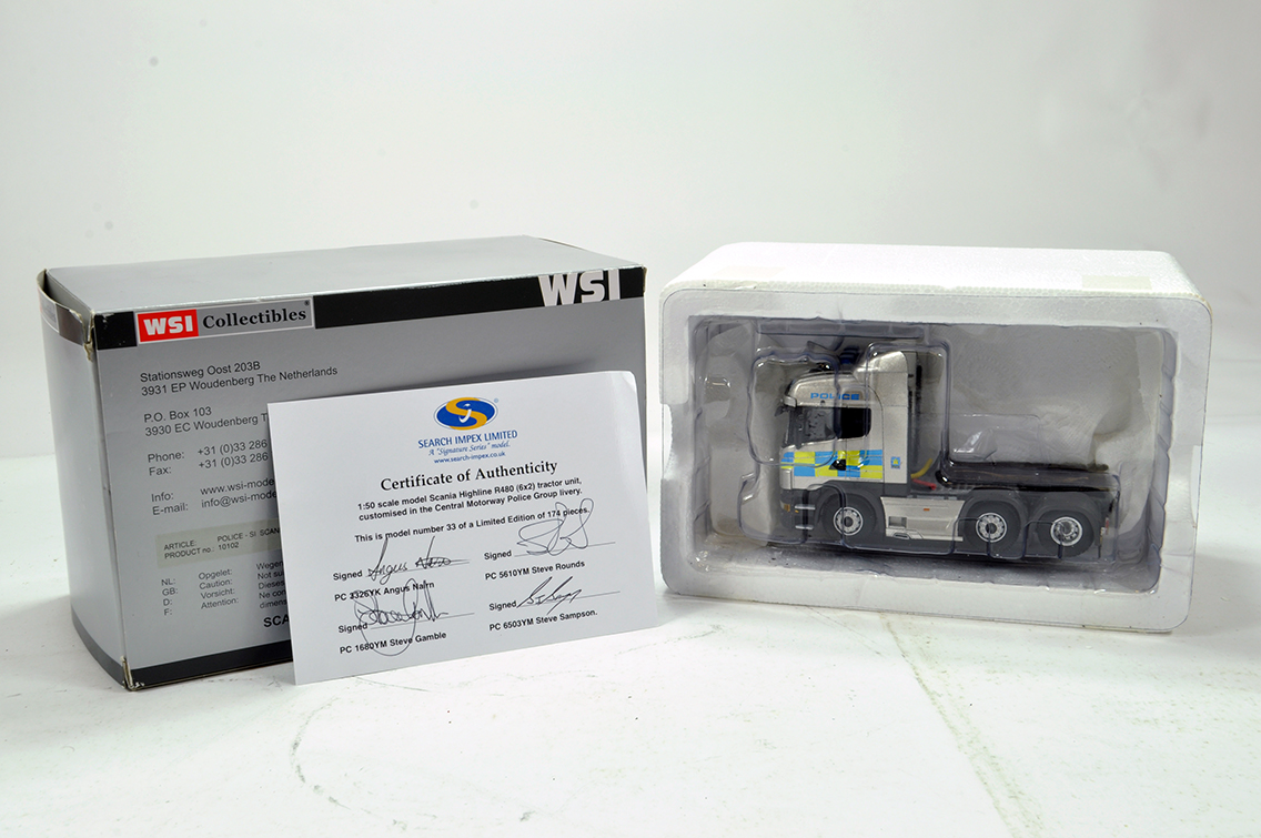 Lot 50 - WSI 1/50 High Detail Diecast Truck Issue comprising Search Impex Scania R480. Livery of Central