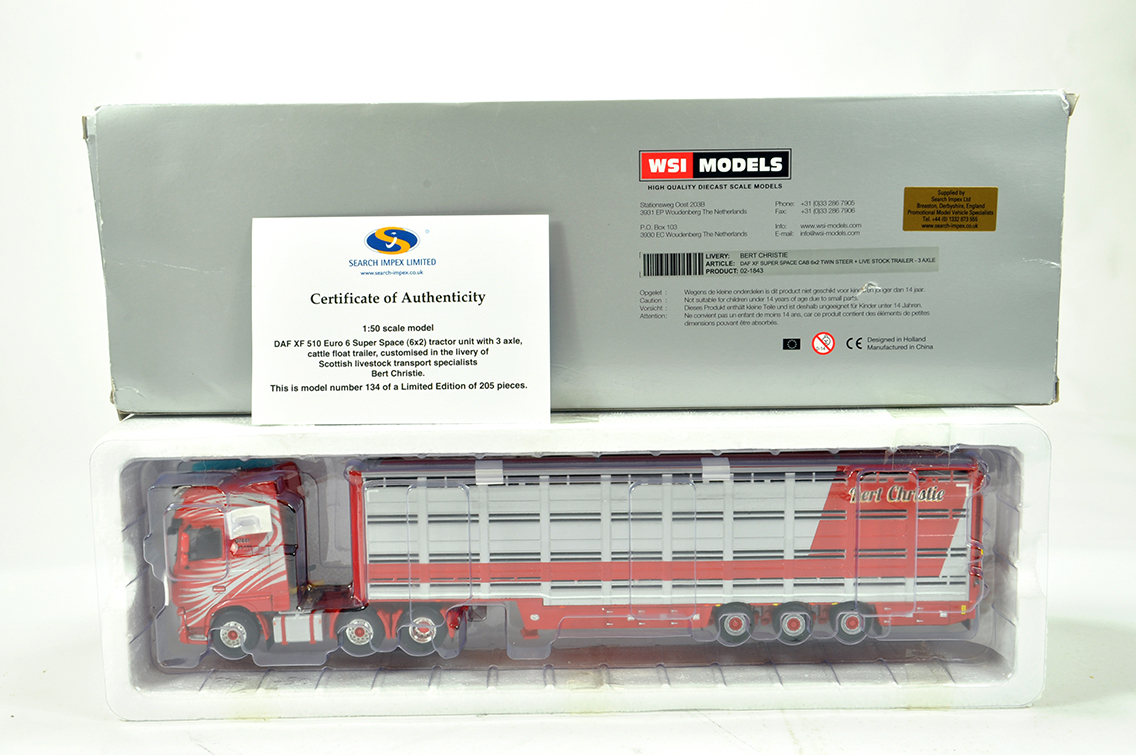 Lot 6 - WSI 1/50 High Detail Diecast Truck Issue comprising Search Impex DAF XF510 with Cattle Trailer.