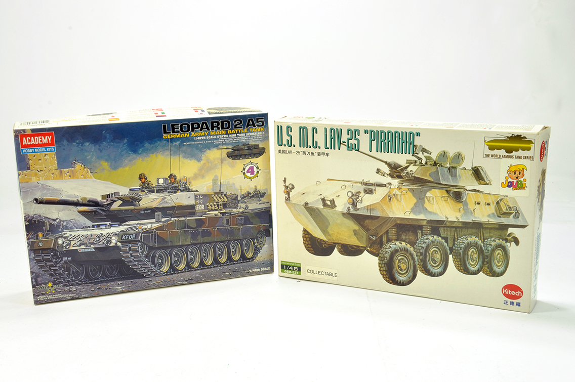 Lot 1263 - Duo of Plastic Model Kits comprising Academy Leopard Germany Army Battle Tank plus Hitech US MC