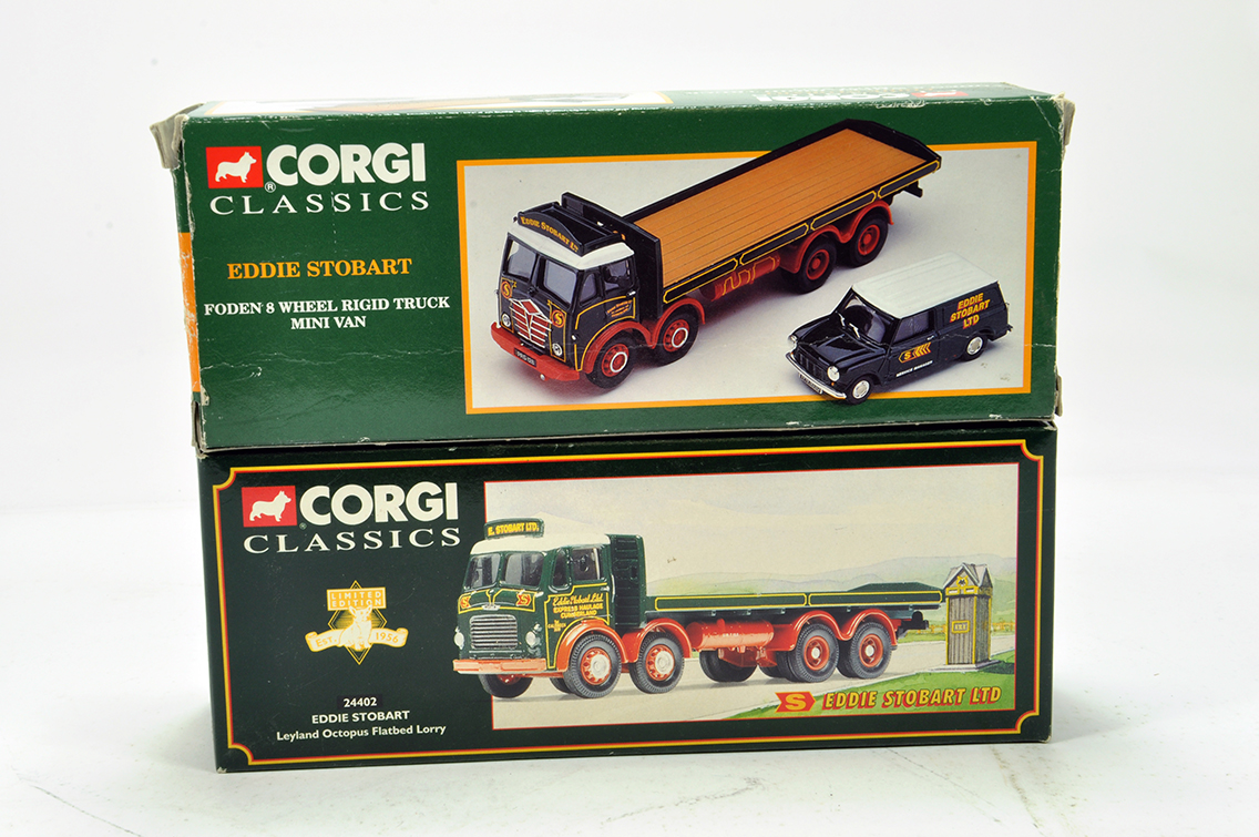 Lot 39 - Corgi 1/50 Diecast Truck Issue duo Comprising Eddie Stobart. NM to M in Boxes. (2)