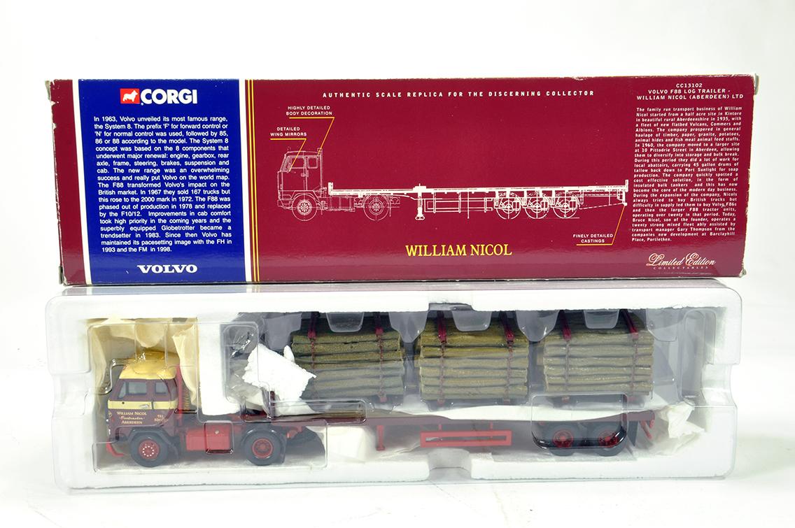 Lot 17 - Corgi 1/50 Diecast Truck Issue Comprising CC13102 Volvo F88 Log Trailer in livery of William