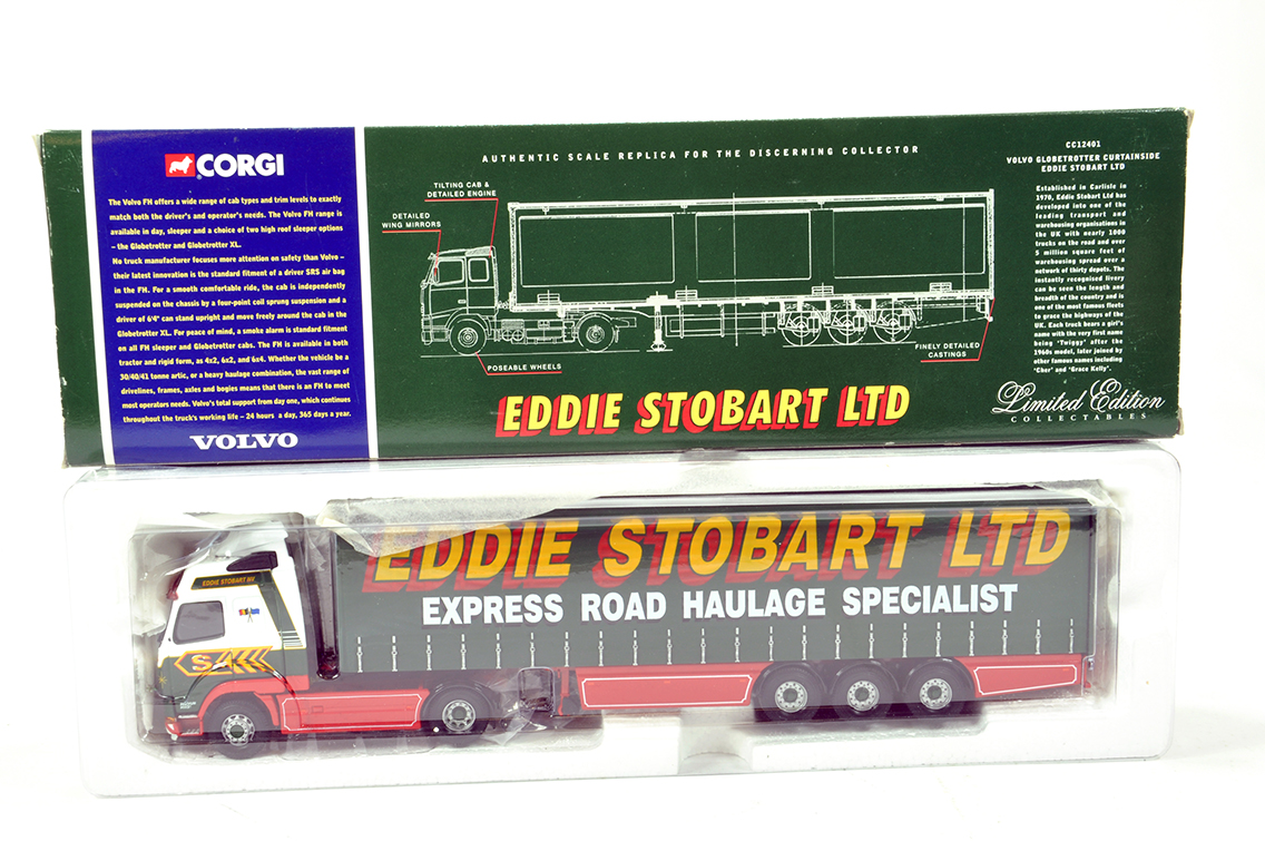 Lot 41 - Corgi 1/50 Diecast Truck Issue Comprising CC12401 Volvo Curtainside Trailer in livery of Eddie