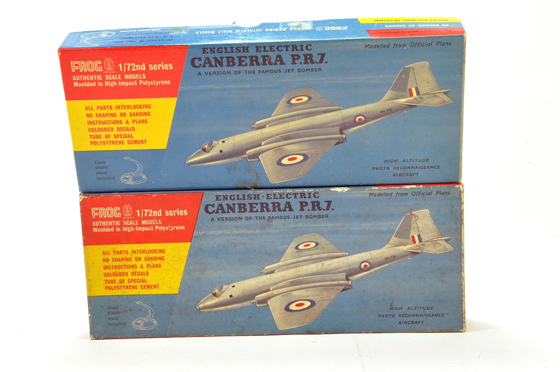 Lot 1226 - Frog (Original) Plastic Aircraft Kit duo comprising British Canberra Bomber. Vendor advises