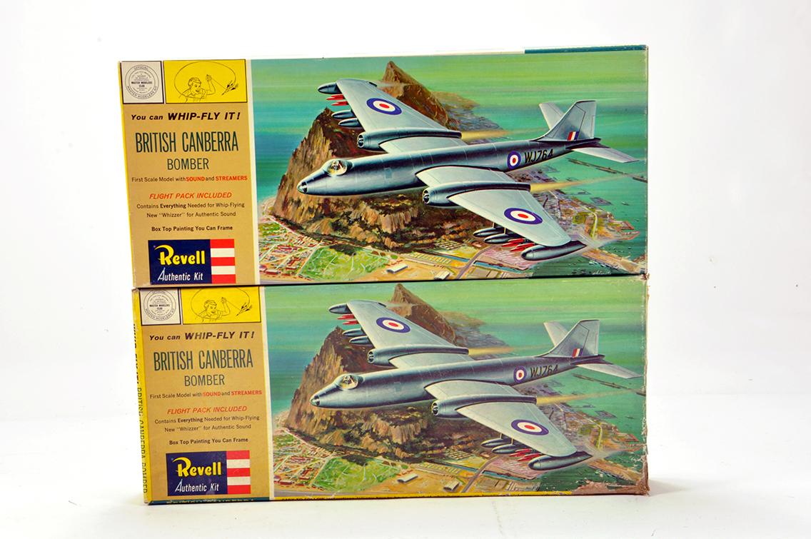 Lot 1225 - Revell (Original) Plastic Aircraft Kit duo comprising British Canberra Bomber. Vendor advises