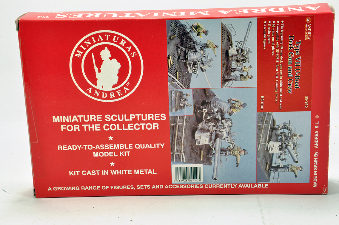 Lot 1269 - Andreas Miniatures 54mm Resin Kit comprising Type VII U Boat Deck Gun and Crew. Complete.