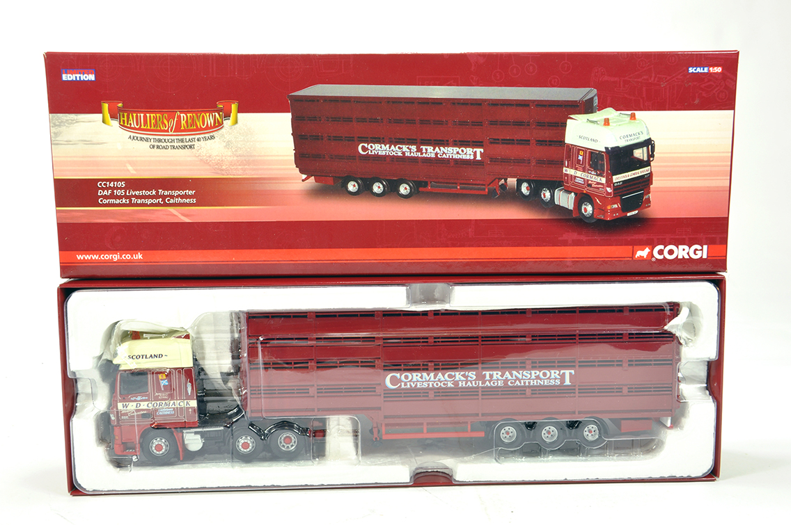 Lot 18 - Corgi 1/50 Diecast Truck Issue Comprising CC14105 DAF 105 Livestock Trailer in livery of Cormacks.