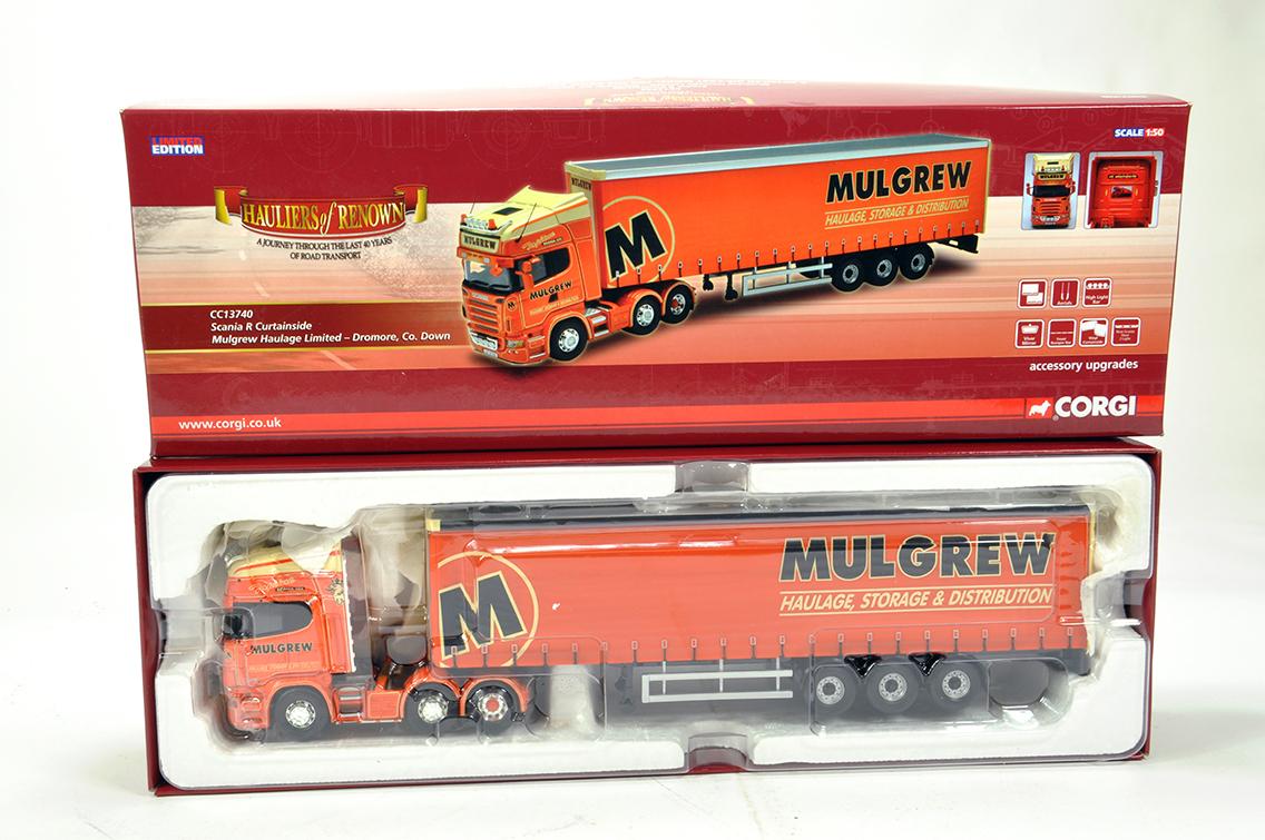 Lot 16 - Corgi 1/50 Diecast Truck Issue Comprising CC13740 Scania R Curtain Trailer in livery of Mulgrew