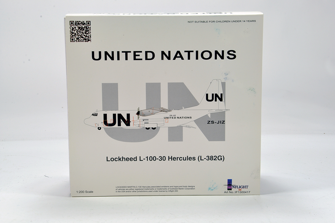 Lot 436 - Inflight Models 1/200 Aircraft issue comprising UN Lockheed Hercules. E to NM in Box.