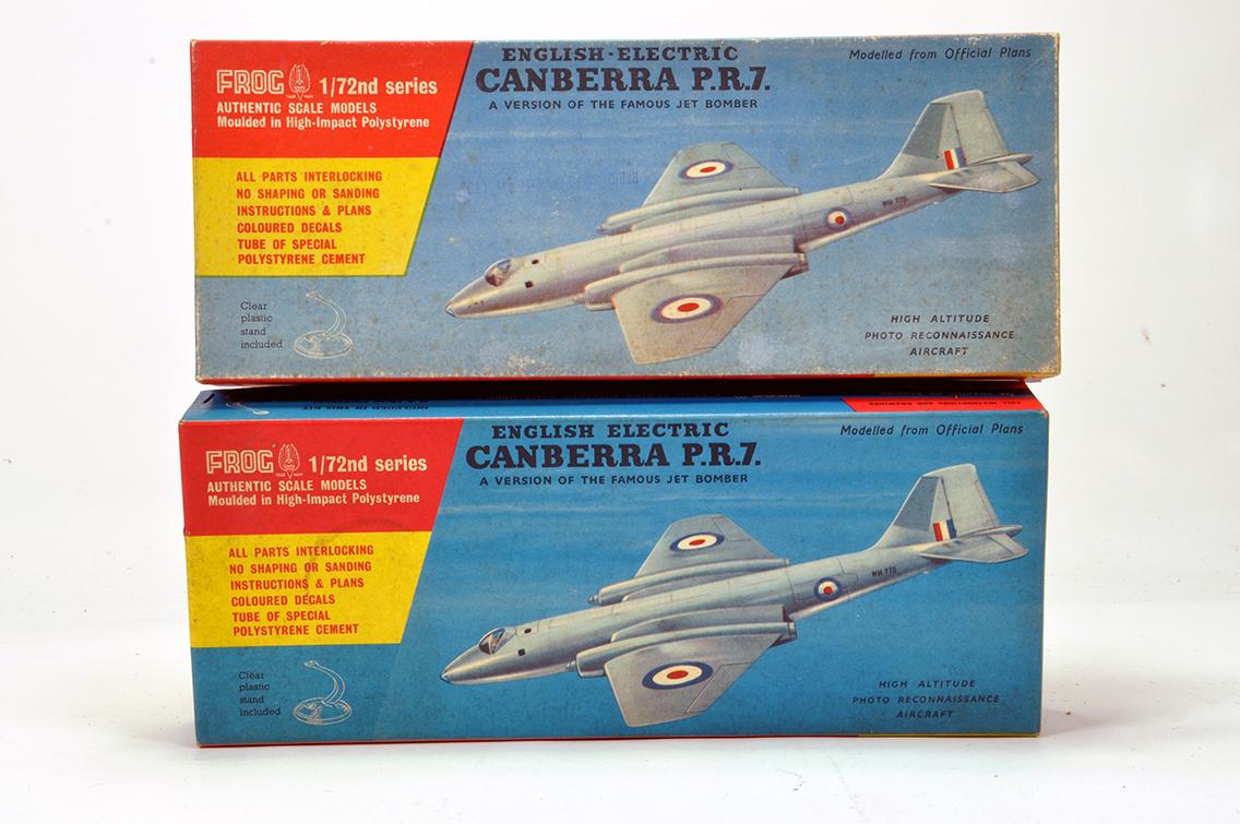 Lot 1236 - Frog (Original) Plastic Aircraft Kit duo comprising British Canberra Bomber. Vendor advises