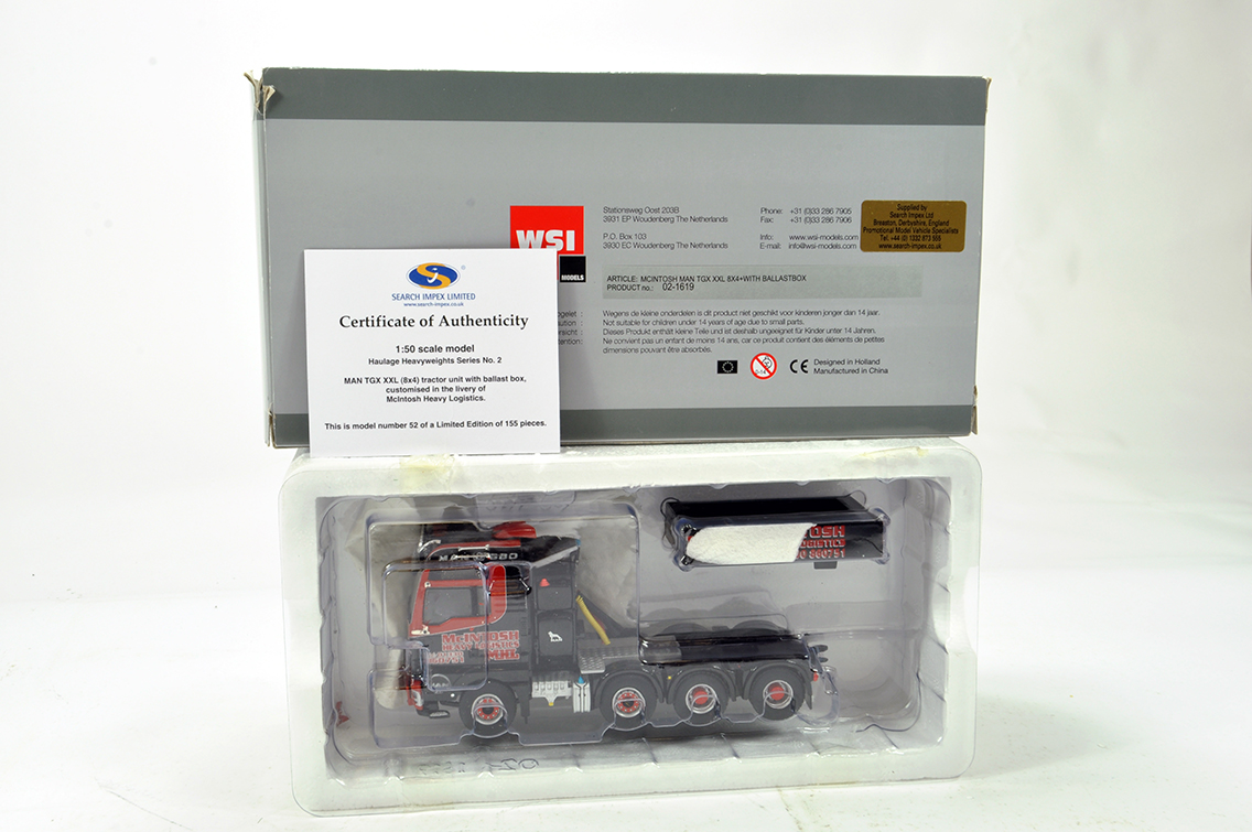 Lot 51 - WSI 1/50 High Detail Diecast Truck Issue comprising Search Impex MAN TGX with Ballast Box. Livery of