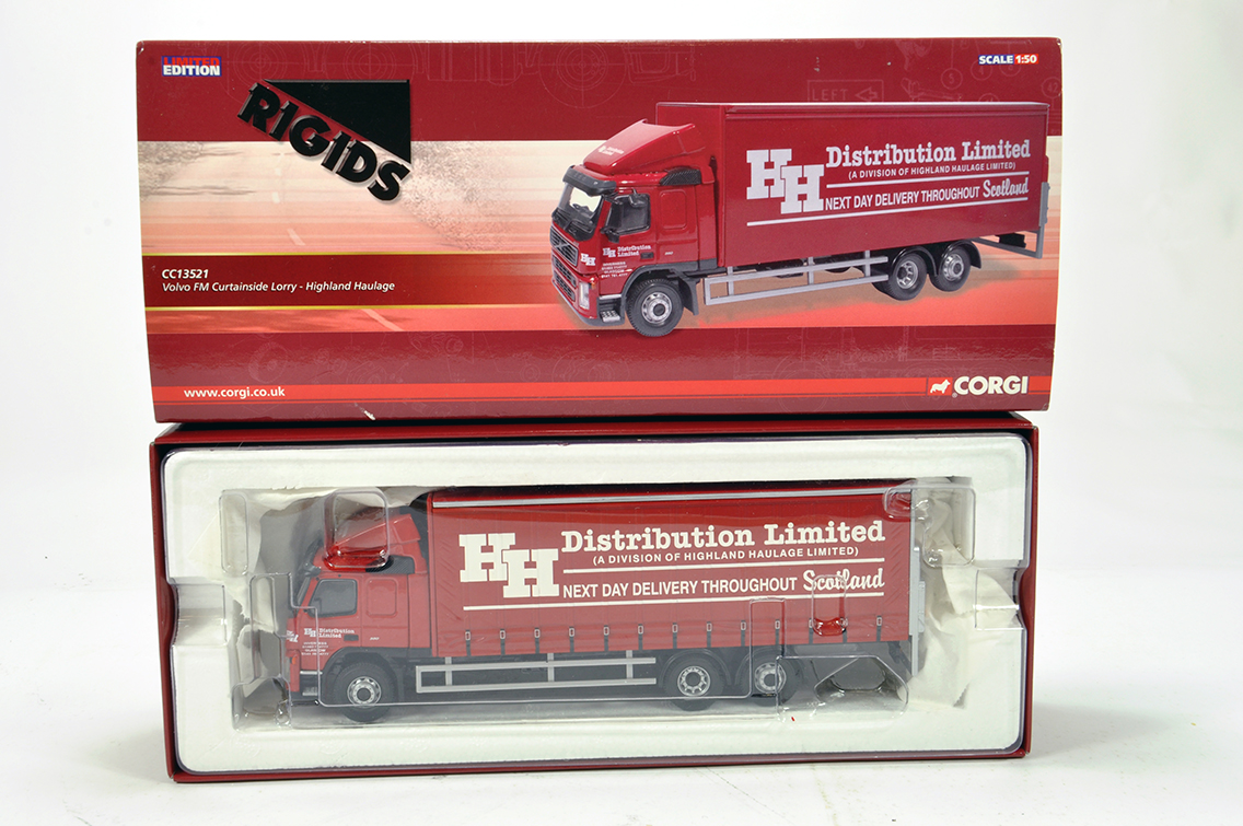 Lot 22 - Corgi 1/50 Diecast Truck Issue Comprising CC13521 Volvo FM Curtain Trailer in livery of Highland