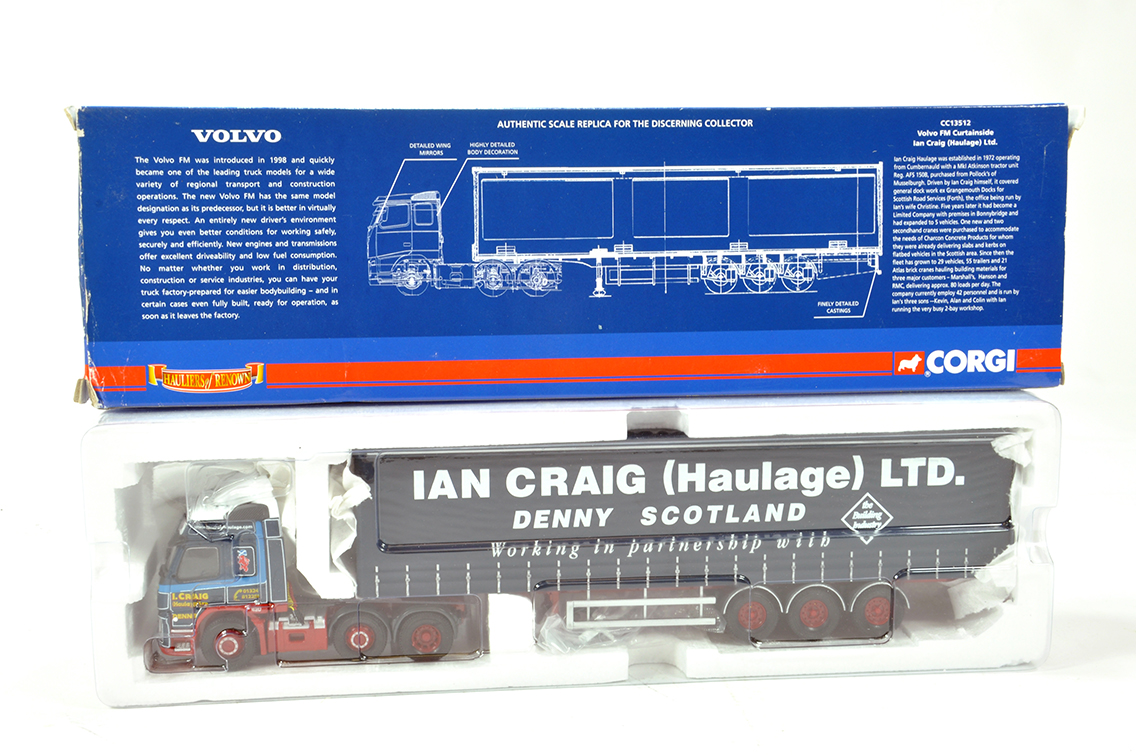 Lot 44 - Corgi 1/50 Diecast Truck Issue Comprising CC13512 Volvo FM Curtainside Lorry in livery of Ian Craig.