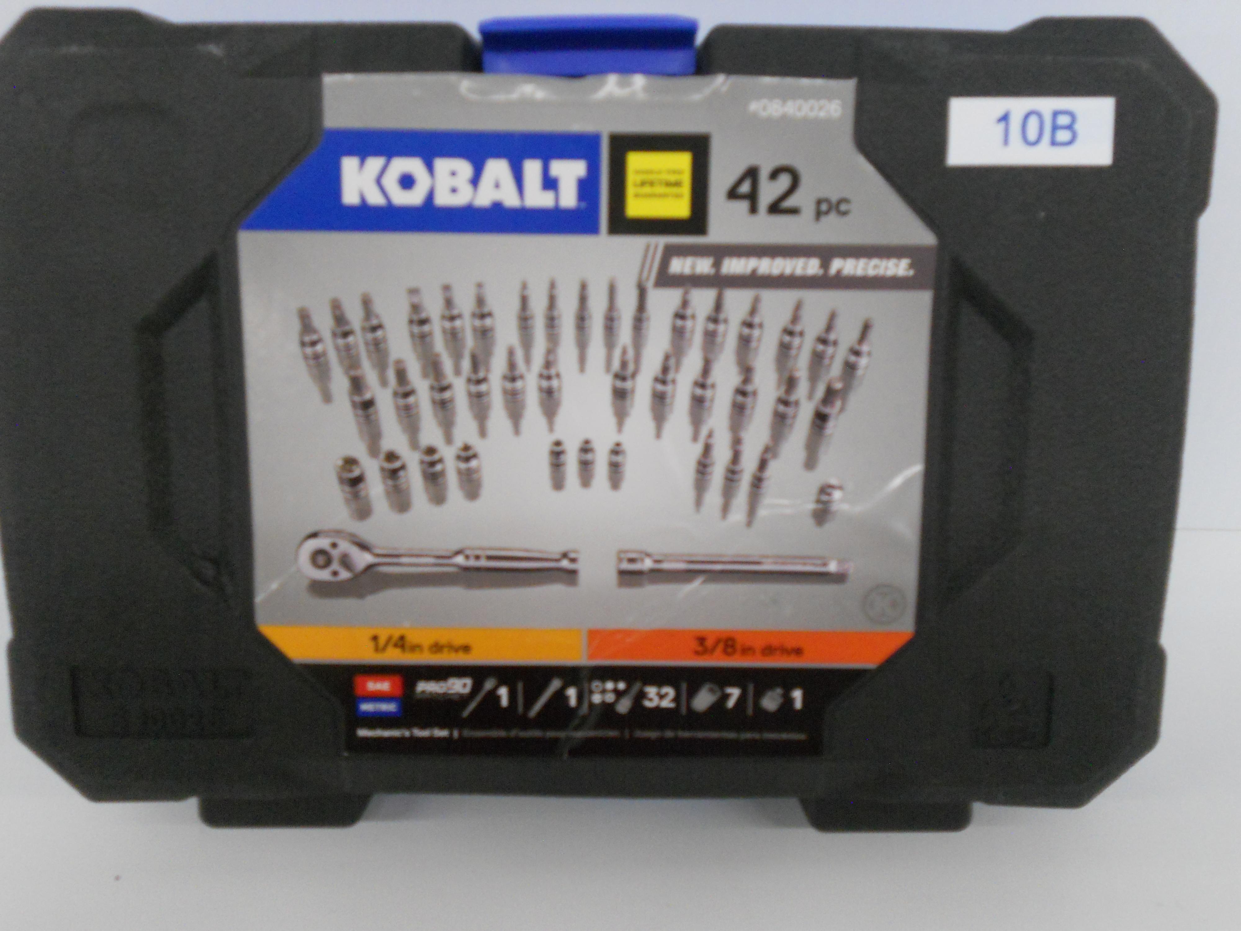 "Kobalt 42-piece SAE/metric 1/4"" & 3/8"" drive mechanics tool set"