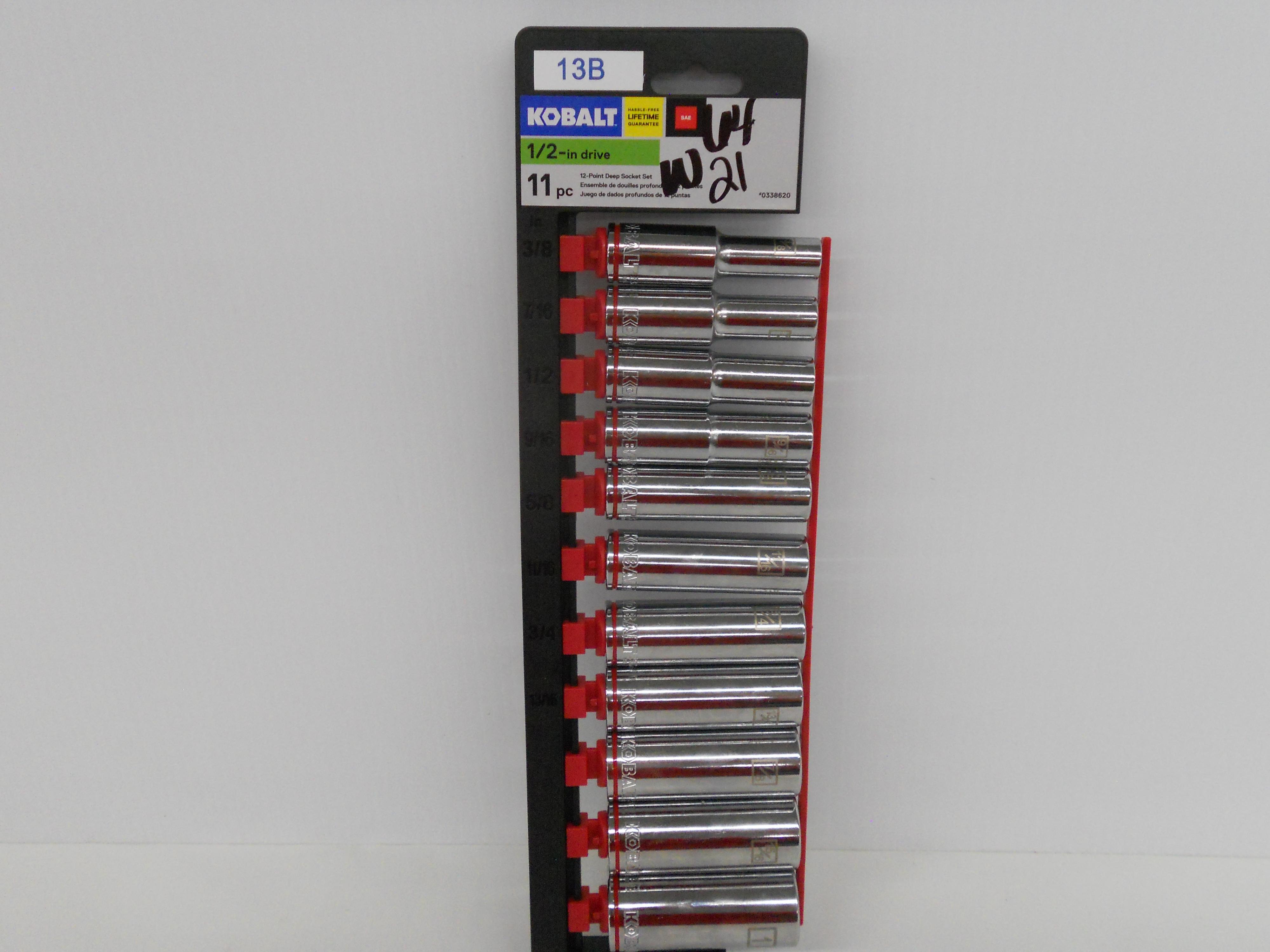 """Kobalt 11-piece 1/2"""" drive deep well sockets 3/8""""to 1"""""""