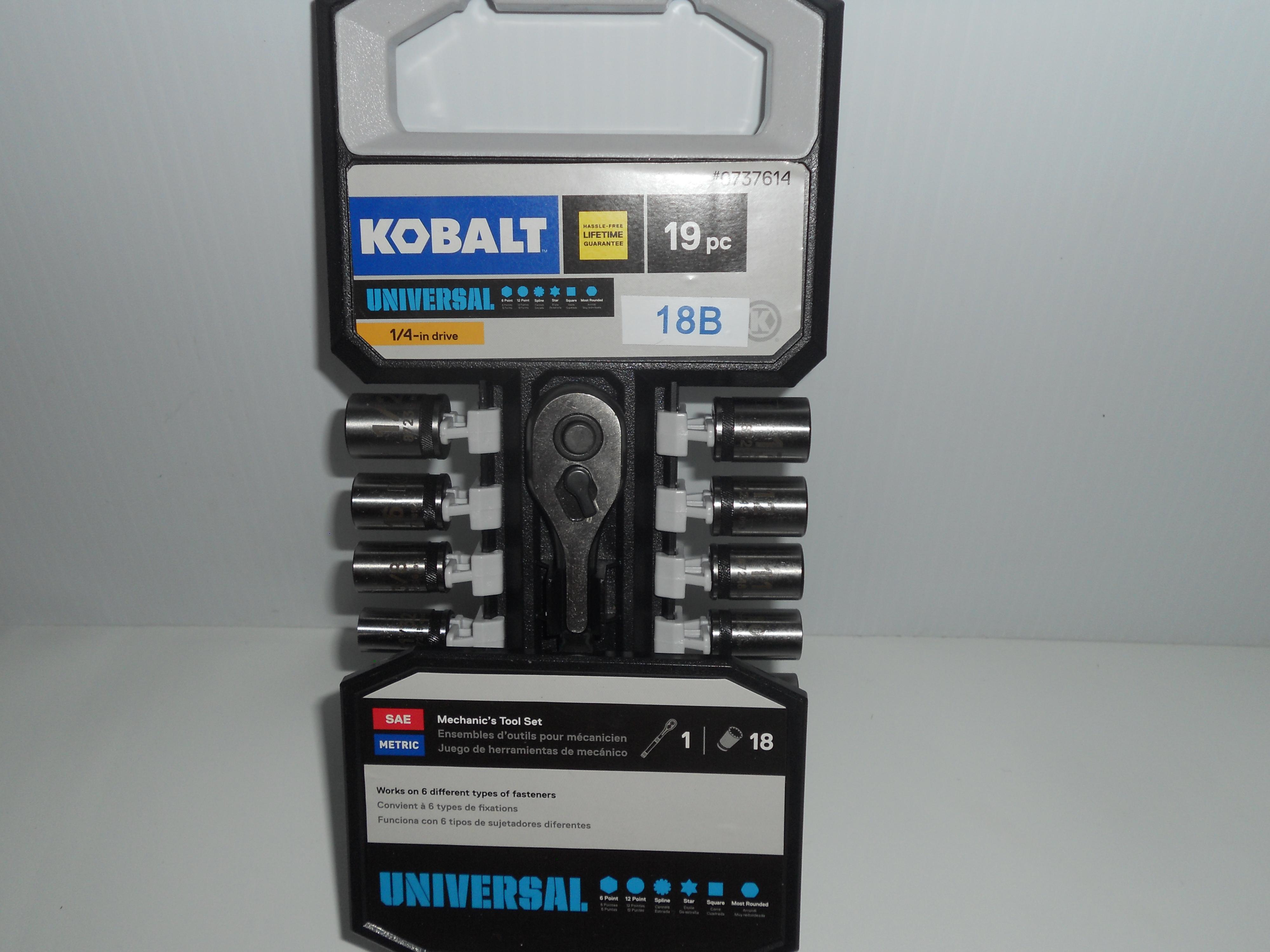"""Kobalt 19-piece 1/4"""" SAE/Metric socket set"""
